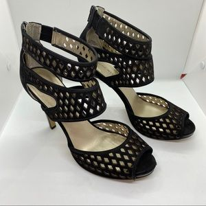 Nine West Black Leather Cut Out Ankle Strap Heels